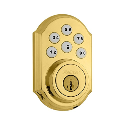 Polished Auto - Kwikset 909 SmartCode Electronic Deadbolt featuring SmartKey in Lifetime Polished Brass