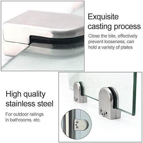 Glasklemmen 2 PCS 15-20mm Flachbodenmatt poliert 201 Edelstahl Feste Clip Gel/änder Glas Holz Schichtplatte Klemmhalterung Einstellbare Glas Clips Glashalterung