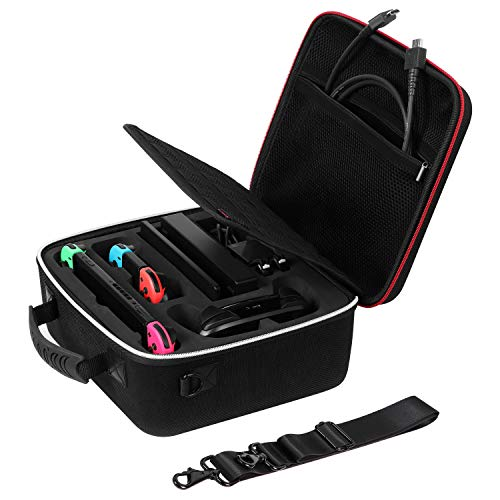 System Strap Shoulder (Rayvol Deluxe Carrying Case for Nintendo Switch, Travel Case w/ Rubberized Handle and Shoulder Strap, Fit Complete Switch System + Pro Controller)
