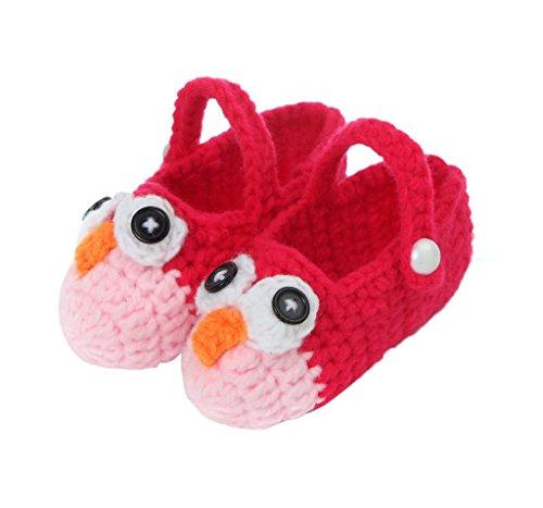 Smile YKK 1 Paar Baby Unisex Strickschuh Strick Schuh süße Muster One Size 11cm Blüte Rot Vogel Rot A