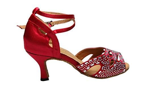 Ballroom Crystals Satin Dance Red Minishion Latin Salsa Wedding Tango QJ805 Womens Party Shoes Eqqvx1Y