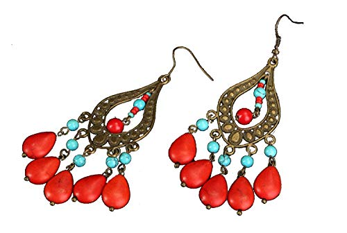 - Handmade Red Designer Dangling Earrings Made From Corals and Turquoise Jewelry Ideas