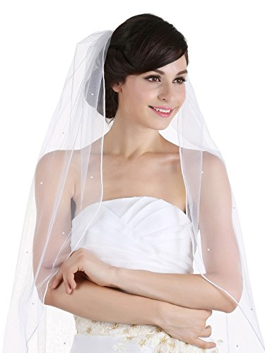 Beautiful One Tier (1T 1 Tier Rhinestones Crystal Sattin Rattail Edge Bridal Wedding Veil - White Color Cathedral Length)