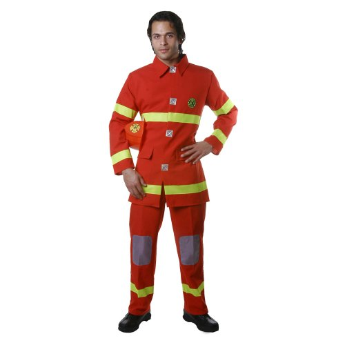 Dress Up America Adult Red Fire Fighter, Multi-Colored, Large]()