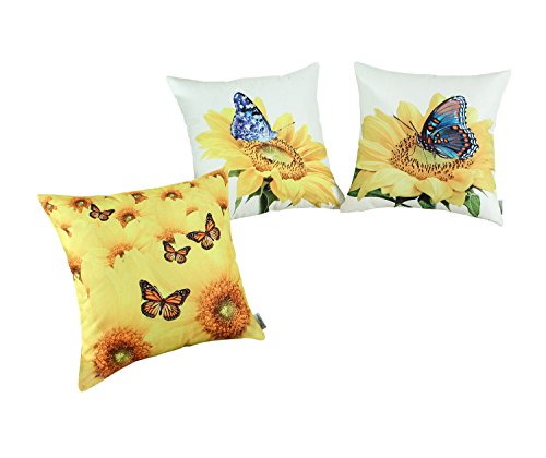 Set of 3 CaliTime Throw Pillow Covers 18 X 18 Inches, Sunflower & Butterfly Print, Combo Set
