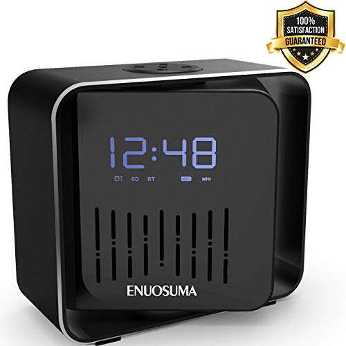 Alarm Clock Bluetooth Speaker, Portable Music Player & FM Radio, Rechargeable Battery & 360 Degree Rotation with Rich Bass Rich Bass, Built-in Mic.