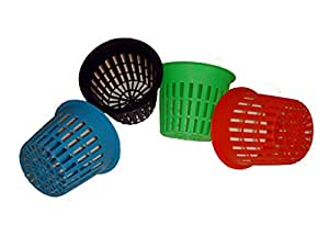 "50pk - 3"" ROUND NET POTS Orchid/Hydroponics Slotted Mesh - BLUE, GREEN, BLACK, ORANGE"