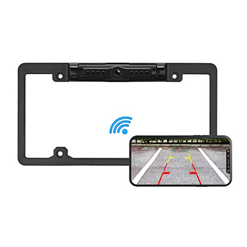 Yakry HD Digital Wireless Backup Camera with License Plate Frame WiFi App for Cars/Minivans/Pickup Trucks with 170 Degree Angle IP69K Waterproof Super Night Vision Guide Line ()
