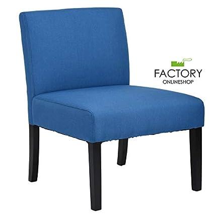 Brilliant Amazon Com Geniqua Single Side Chair Sofa Blue Fabric Cover Machost Co Dining Chair Design Ideas Machostcouk