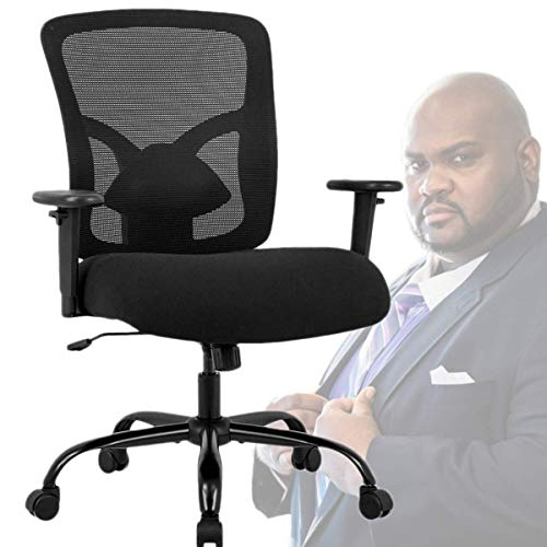 Big and Tall Mesh Office Chair, 400 LBS Ergonomic Mid Back Computer Swivel Desk Task Chair, Executive Heavy Duty Office Chair with Lumbar Support Adjustable Arms for Conference Room Home Office