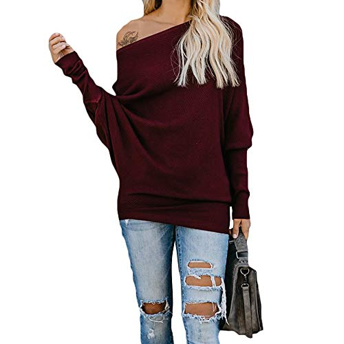 Exlura Women's Off Shoulder Batwing Sleeve Ribbed Shirt Loose Pullover Tops Wine Red