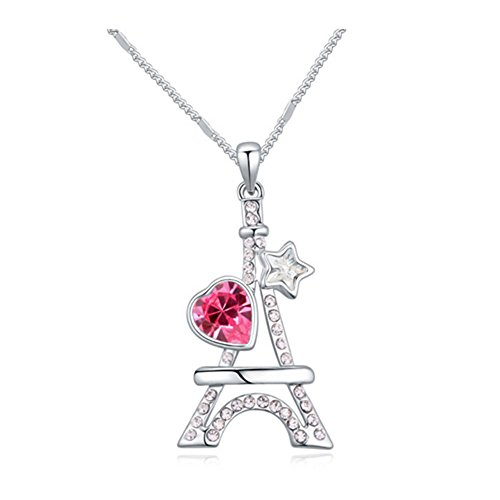 White Gold Plated Eiffel Tower Heart and Star Shaped Cut AAA Swarovski Elements Hot Pink Austrian Crystal Pendant Necklace Fashion Jewelry for Girls (Hello Kitty Earring Set)