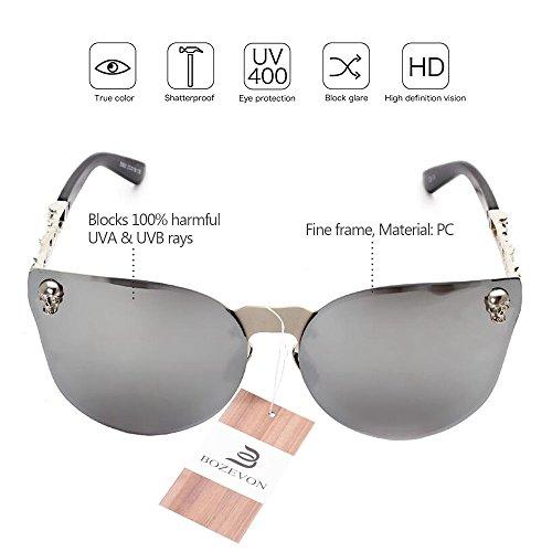 BOZEVON Moda Sol de Reflexivo Mujer UV400 Gafas blanco C4 Cráneo Hombre Oversized Rimless Plateado qrBq1twxz