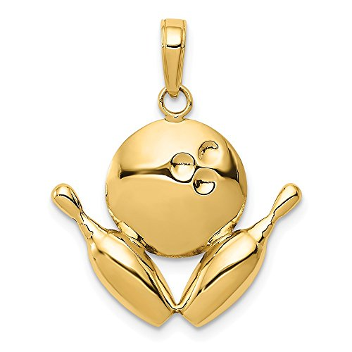 - 14k Yellow Gold Diamond-Cut Bowling Ball and Pins Charm 21x21mm