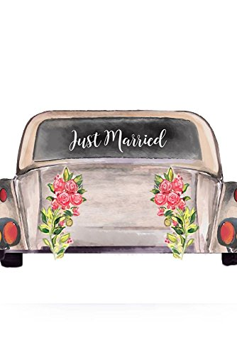 Just Married Car Window Cling Style CV01, White (White Bottle Seashell Stopper)