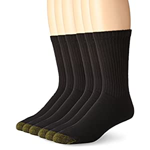 Gold Toe Men's 6-Pack Cotton Crew Athletic Sock Black 10-13 (Shoe Size 6-12.5)