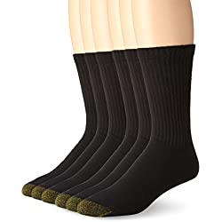 Gold Toe Men's Cotton Standard Crew Athletic Sock, Black 10-13, 6-Pack