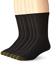 Gold Toe Men\'s Cotton Standard Crew Athletic Sock, Black 10-13, 6-Pack
