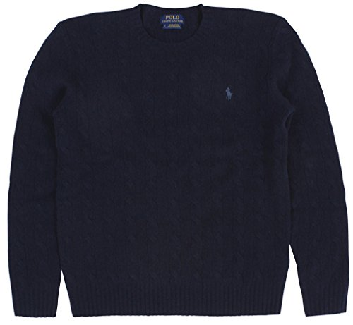 RALPH LAUREN Polo Men's Cable-Knit Cashmere Crewneck Sweater Small Hunter Navy ()