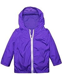 Arshiner Little Kid Waterproof Hooded Coat Jacket Outwear Raincoat,Dark Blue,Size 120
