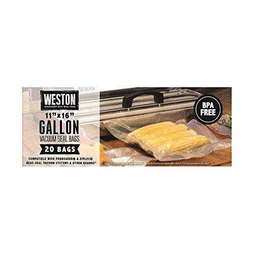 Weston 30-0108-W 42 Count Gallon Vacuum Sealer Bags, 11″ x 16″, Transparent