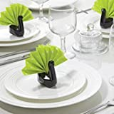 Ceramic Napkin Holders Swans Peleg Design Black