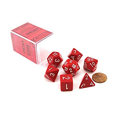 Chessex Polyhedral 7-Die Opaque Dice Set - Red with White: Toys & Games