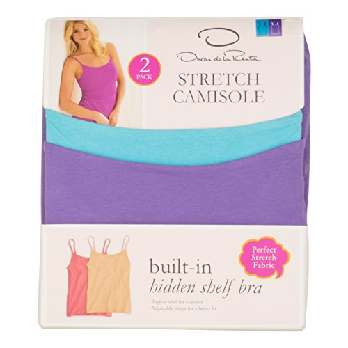 Stretch Cotton Bra Camisole (Oscar De La Renta Womens 2-Pack Stretch Camisole Small)