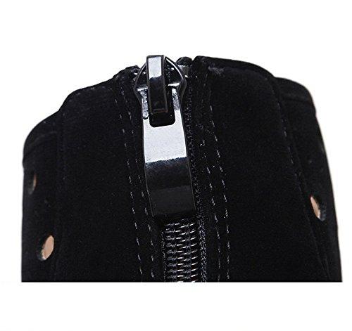 AdeeSu Womens Hollow Out Zipper Suede Boots Black NIEmgT
