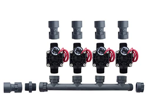 Hunter PGV101-MM 4 Zone Dura Manifold Valve Kit with Flow Control - Slip PGV101G (4 ()