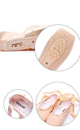 Straps Pink Ragazze In Raso Esercizi Shoes Sponge Pointe Size Canvas 36 Canvas sponge Ballet color Di Professione Eu Xiuzp Per Donne Cotone qXwxB605B