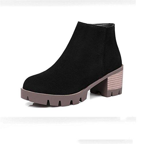ZQ@QX El otoño y el invierno de cabeza redonda Taiwán impermeable grueso con elegante lado estudiantes, botas botas mujer desnuda black