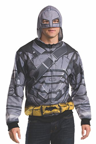 Rubie's Men's Batman v Superman: Dawn of Justice Batman Armor Costume Hoodie, Multi, One (Adult Batman Costumes Hoodie)