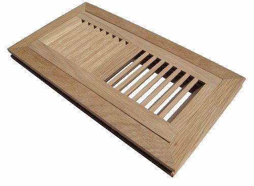 12 White Flush (Welland 4 Inch x 12 Inch White Oak Hardwood Vent Floor Register Flush Mount Unfinished)