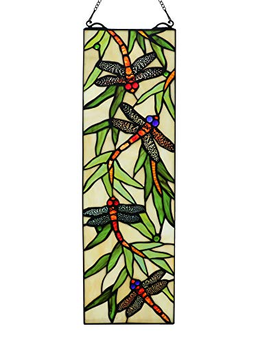 Yolic Dragonfly Stained Glass Window Panels Trasom Window Hanging Panel 21.5 Inch by 6.8 - Windows Dragonfly Window