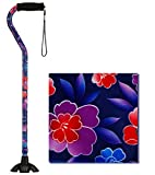 NOVA Sugarcane, Walking Cane with Quad Tip and Carrying Strap, Stand Alone Cane, Maui Flowers Design