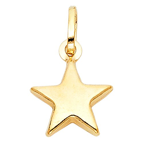 cheap Polished 14K Solid Yellow Gold Star Pendant on sale