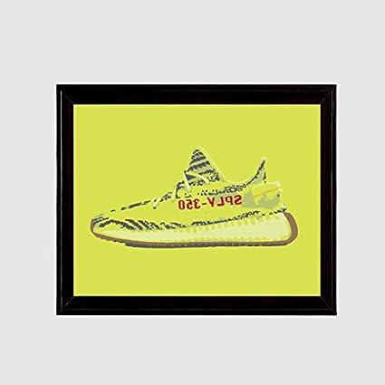 8d1080ca2d19c Amazon.com  Yeezy 350 Boost v2 Semi Frozen Yellow Zebra Art Print ...