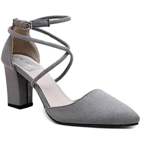 A Tacco Alla Minetom Scarpe Scarpe Caviglia Grigio Con Cinturini Cross Elegante Donne Punta Nubuck Grosso Sandali q8xxSOtwaB