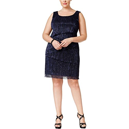 Connected Apparel Womens Plus Metallic Tiered Cocktail Dress Navy 18W