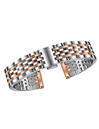 22mm Double Wrap Watch Strap Silver and Rose Gold with Curved or Straight Connections Solid Stainless Steel