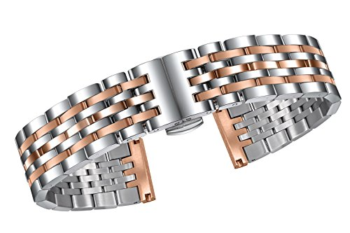 20mm Two Tone Metal Watch Bands in Silver and Rose Gold Super Stainless Steel with Solid Links Adjustable ()