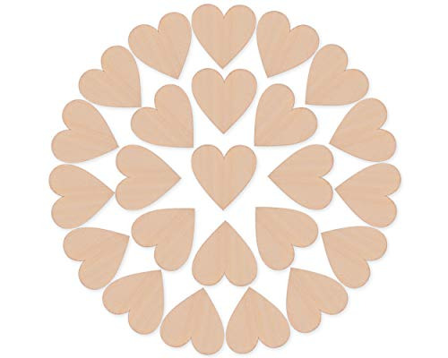 - Ace Select 50 Pieces 2 Inches Blank Wood Hearts Slices Discs Wedding Christmas Ornaments Crafts Supplies Heart Cutout Shape Unfinished Wood