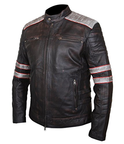 Racer Finish amp;H Brown Genuine Cowhide Cafe Men's Jacket Leather Vintage F wPAxZqP