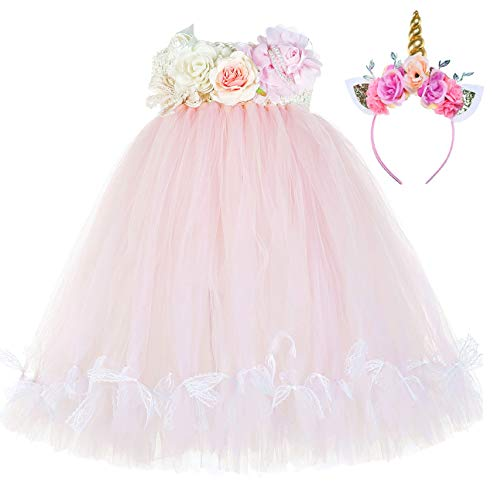 Tutu Dreams Unicorn Outfit for Toddler Girls Birthday Baptism Coronation (2, Pastel Pink)