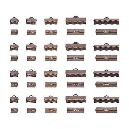 PandaHall Elite 150 pcs 5 Sizes 8/10/13/20/25mm Brass Ribbon Ends Clamp Crimps Cord Ends with Loop for Bracelet Jewelry DIY Craft Making, Antique Bronze