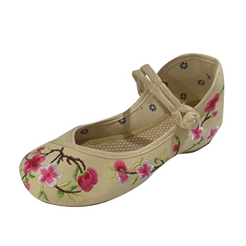 Toimothcn Embroidered Canvas Shoes Women Vintage Ankle Double Strap Ethnic Shoes (White8,US:5.5)