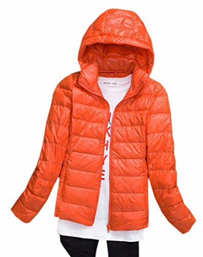 Xswsy XG Women Winter Zip Front Puffer Jacket Hoodies Packable Down Coat Orange - Zip Puffer Front