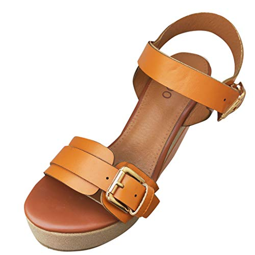 (Women's Platform Espadrilles Slide-on Open Toe Faux Leather Summer Sandals Fashion Ankle Strap Flatform Wedge Sandal Brown)