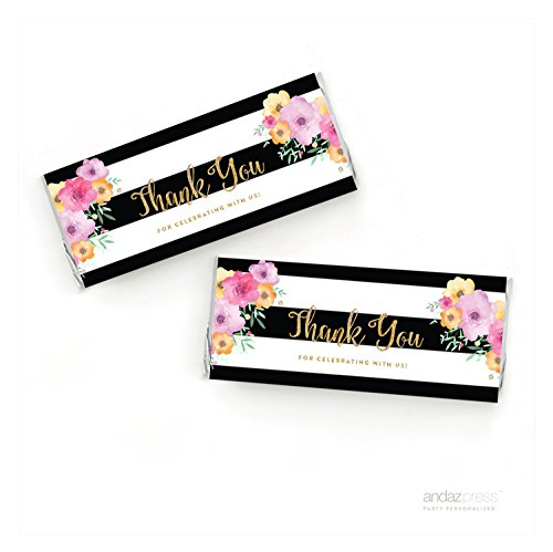 Andaz Press Floral Gold Glitter Print Wedding Collection, Hershey Bar Labels, 10-Pack